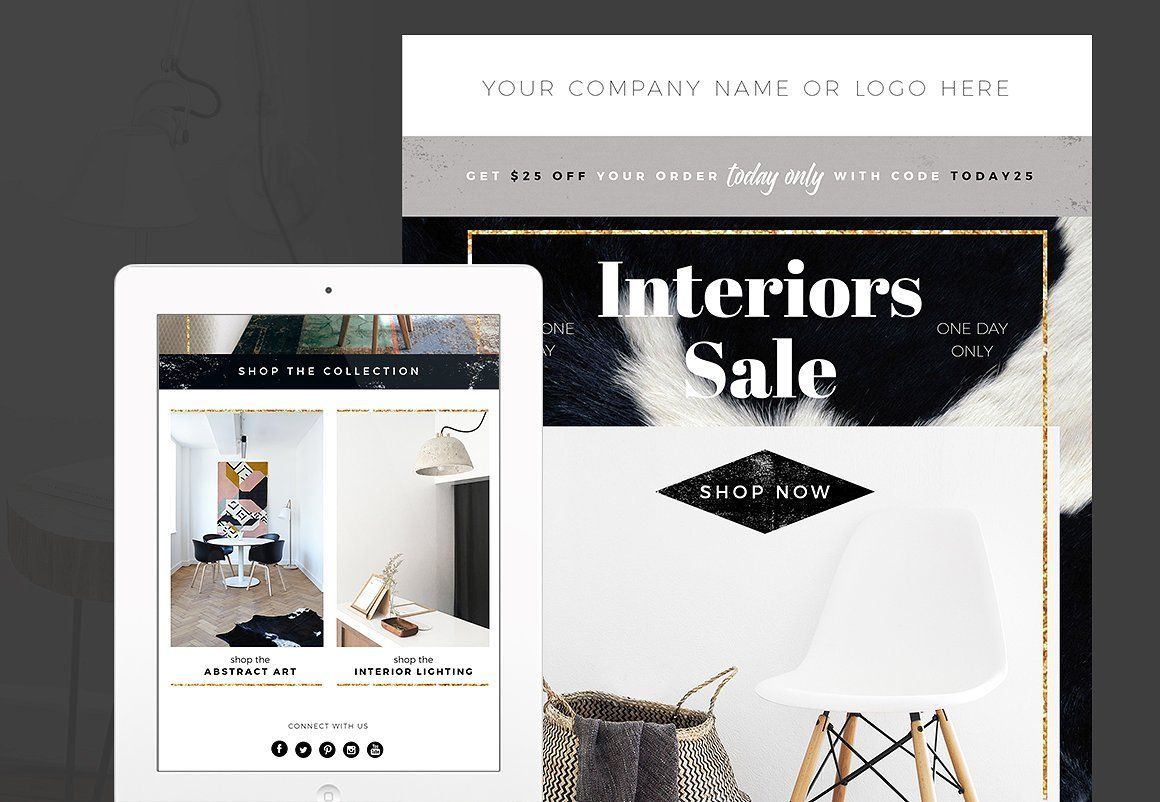 Interior Design Email Newsletter Template Photoshop Newsletter