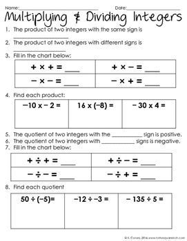 Multiplying And Dividing Integers Notes Math Activities