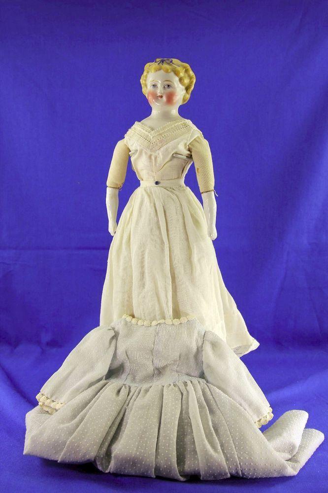 Antique China Shoulder Head Doll Blue Hair Bow Blonde Hair Blue
