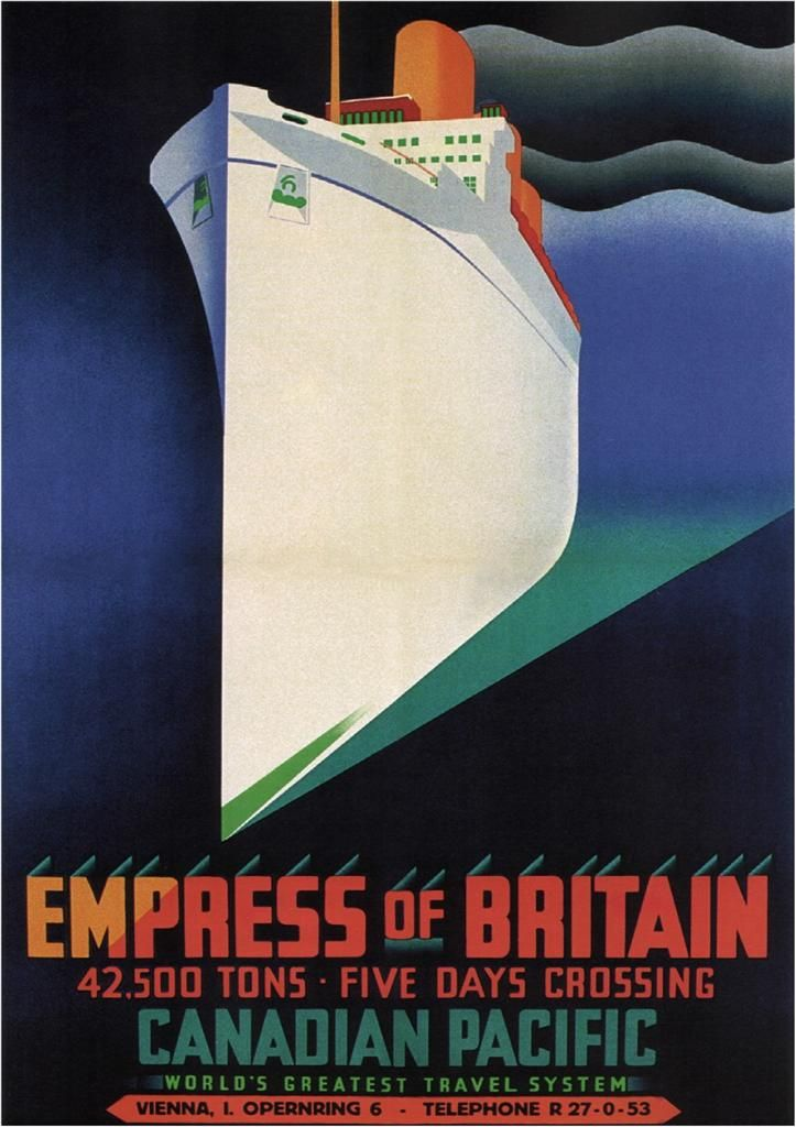 empress of britain, | EMPRESS OF BRITAIN by Clement Dane - 1932 - Vintage Travel Poster ...