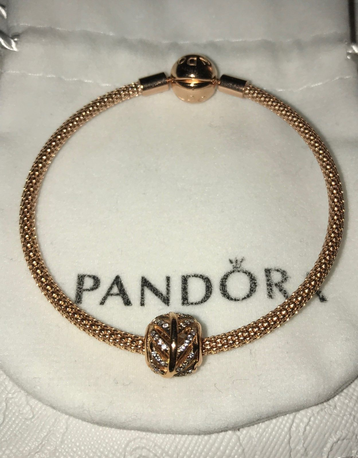 Pandora Moments Mesh Bracelet w/Charm Rose Gold Size 6.7 New ...
