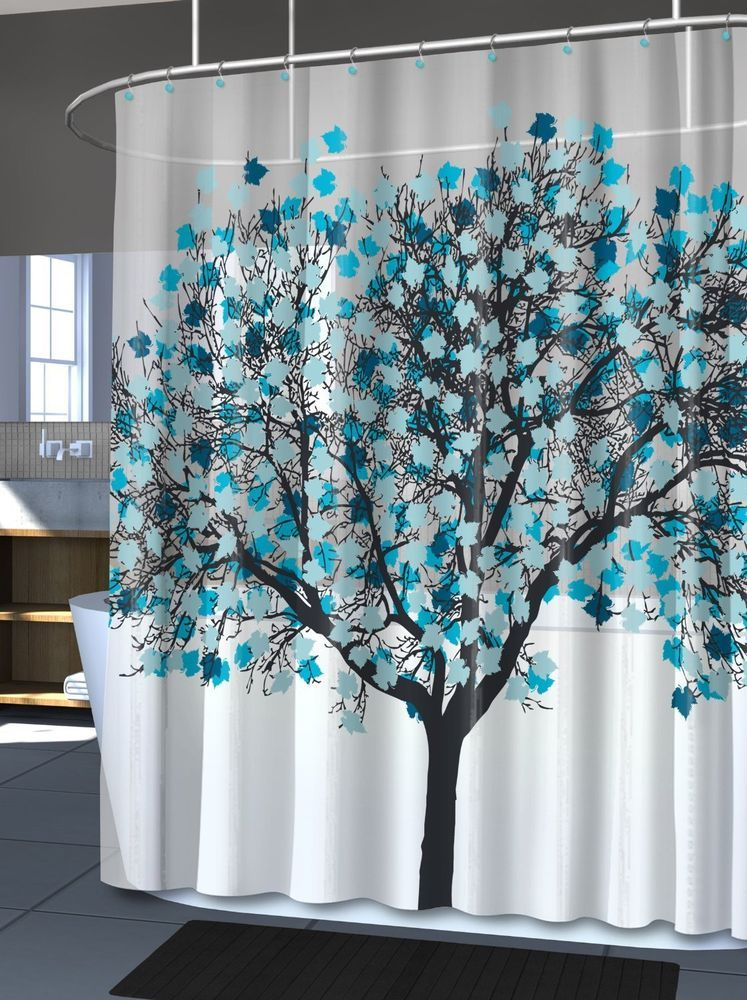 Blue Tree Shower Curtain Bathroom Vinyl Curtains Home Decor Leaves Trees Nature SplashHome