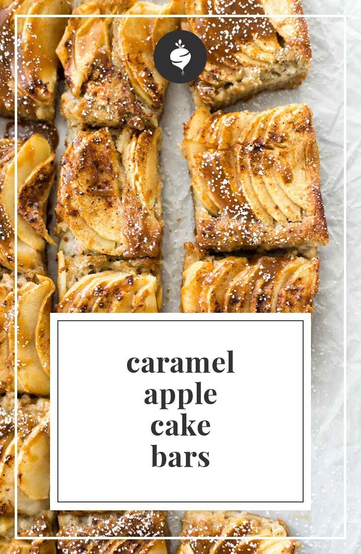 Healthy, delicious, and simple caramel apple cake bars. A quick dessert you could take to any gathering along with 7 other healthy holiday dessert ideas.