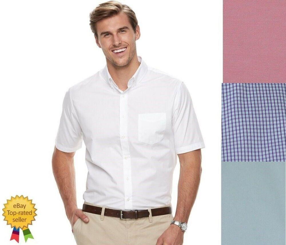 New Croft Barrow Men S Shirt Classic Fit Easy Care Short Sleeve