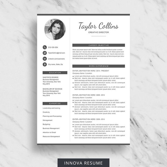 Resume Template With Photo Photo Resume Cv Template For Word