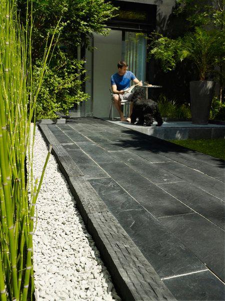 Bordures De Terrasse En Ardoise Maison Com Ardoise Terrasse Decor Dallage Terrasse Amenagement Jardin Deco Exterieur Jardin