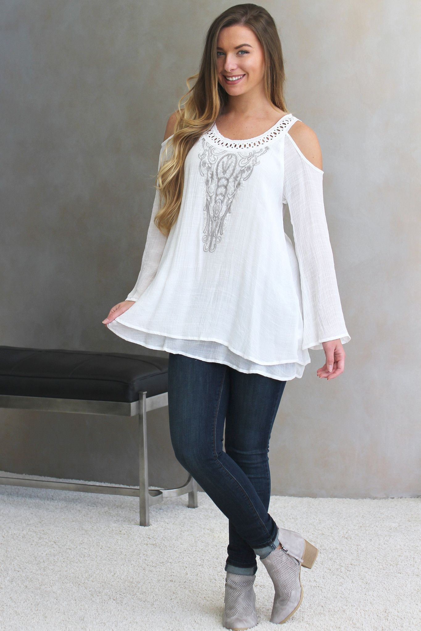 Embroided Open Shoulder Top