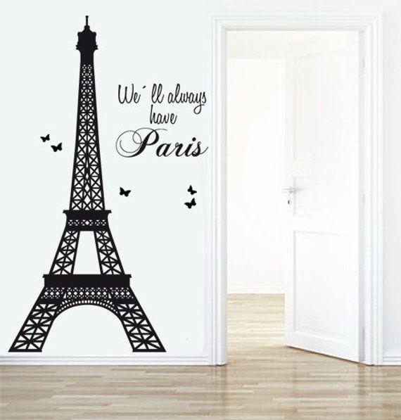 Eiffel Tower Decal - Paris Decals- Livingroom wall decal ...