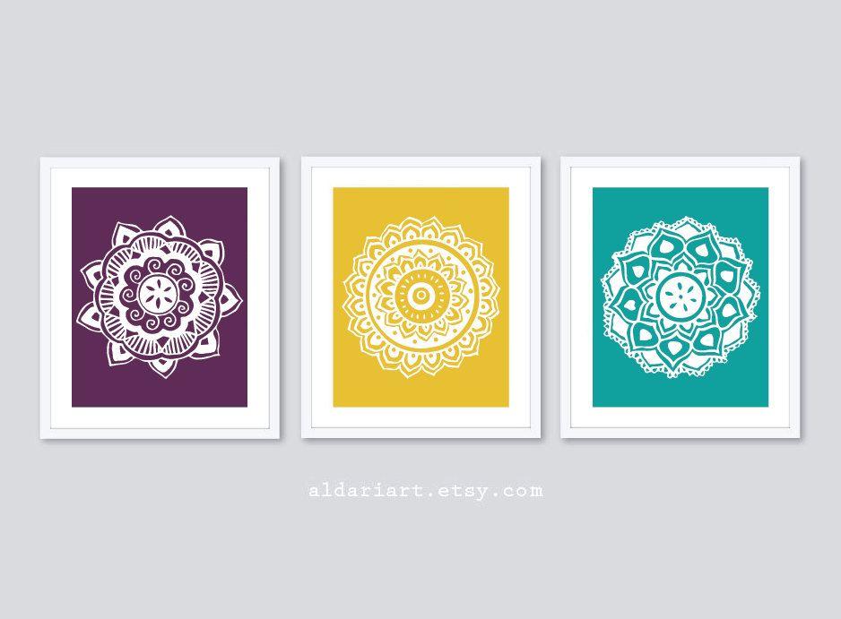 Medallions Art Prints - Mandala Prints - Set of 3 - Mandala Wall Art ...