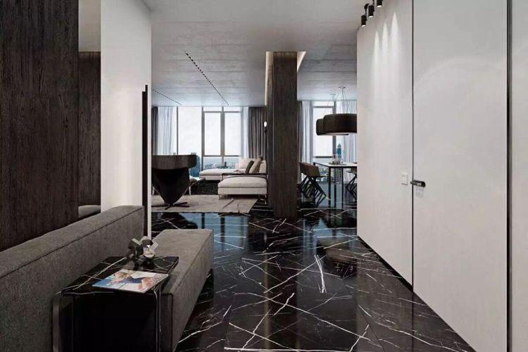 Schwarzer marmor boden moderne wohnung weiss #interiors fliesen