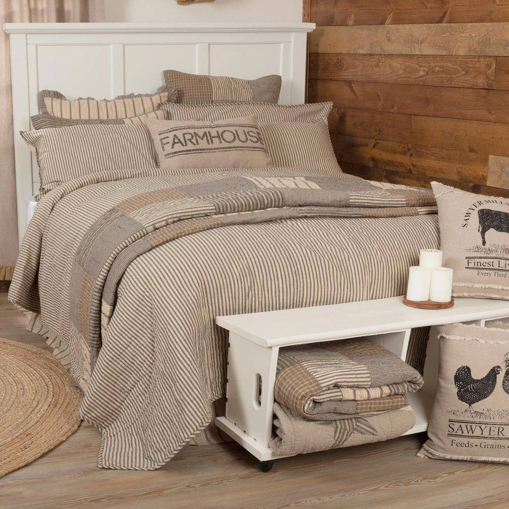 Sawyer Mill Charcoal Ticking Stripe Twin Quilted Coverlet