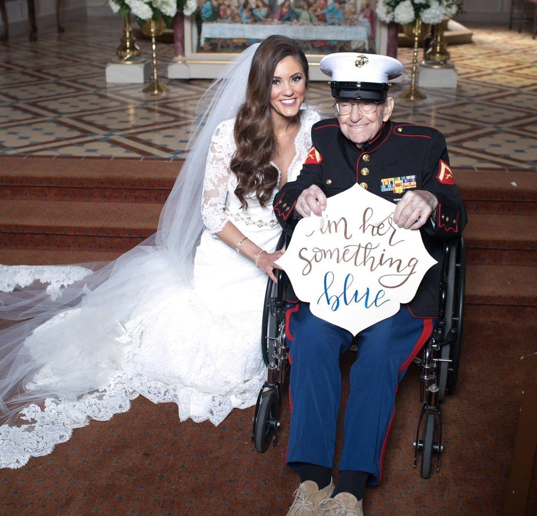 92YEAROLD MARINE VETERAN BRIDE'S ADORABLE