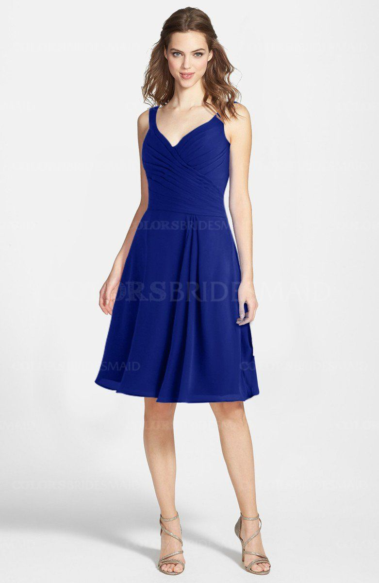Electric blue gorgeous a line sleeveless zip up chiffon knee electric blue gorgeous a line sleeveless zip up chiffon knee length bridesmaid dresses style ombrellifo Gallery