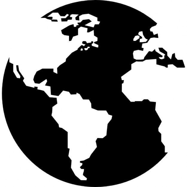 Globe Terrestre Avec Des Cartes De Continents Pochoir Silhouette