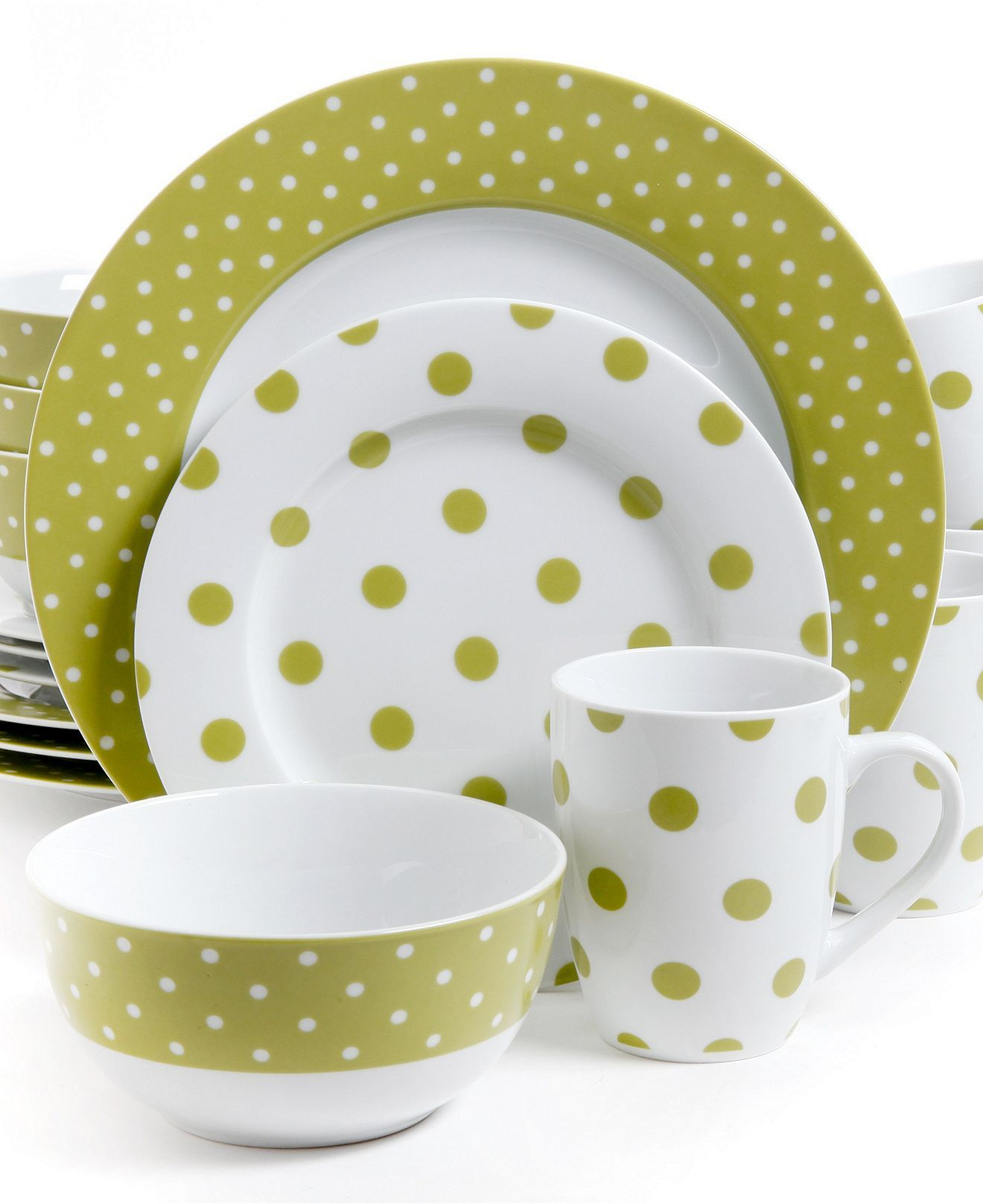 Isaac Mizrahi Dots Luxe Lime 16-Pc. Set Service for 4 - Dinnerware - Dining u0026 Entertaining - Macyu0027s  sc 1 st  Pinterest & Isaac Mizrahi Polka Dot Lime 16-Piece Set - Casual Dinnerware ...