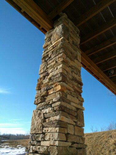 Cultured Stone Columns : Custom faux stone columns pillars for deck support dry