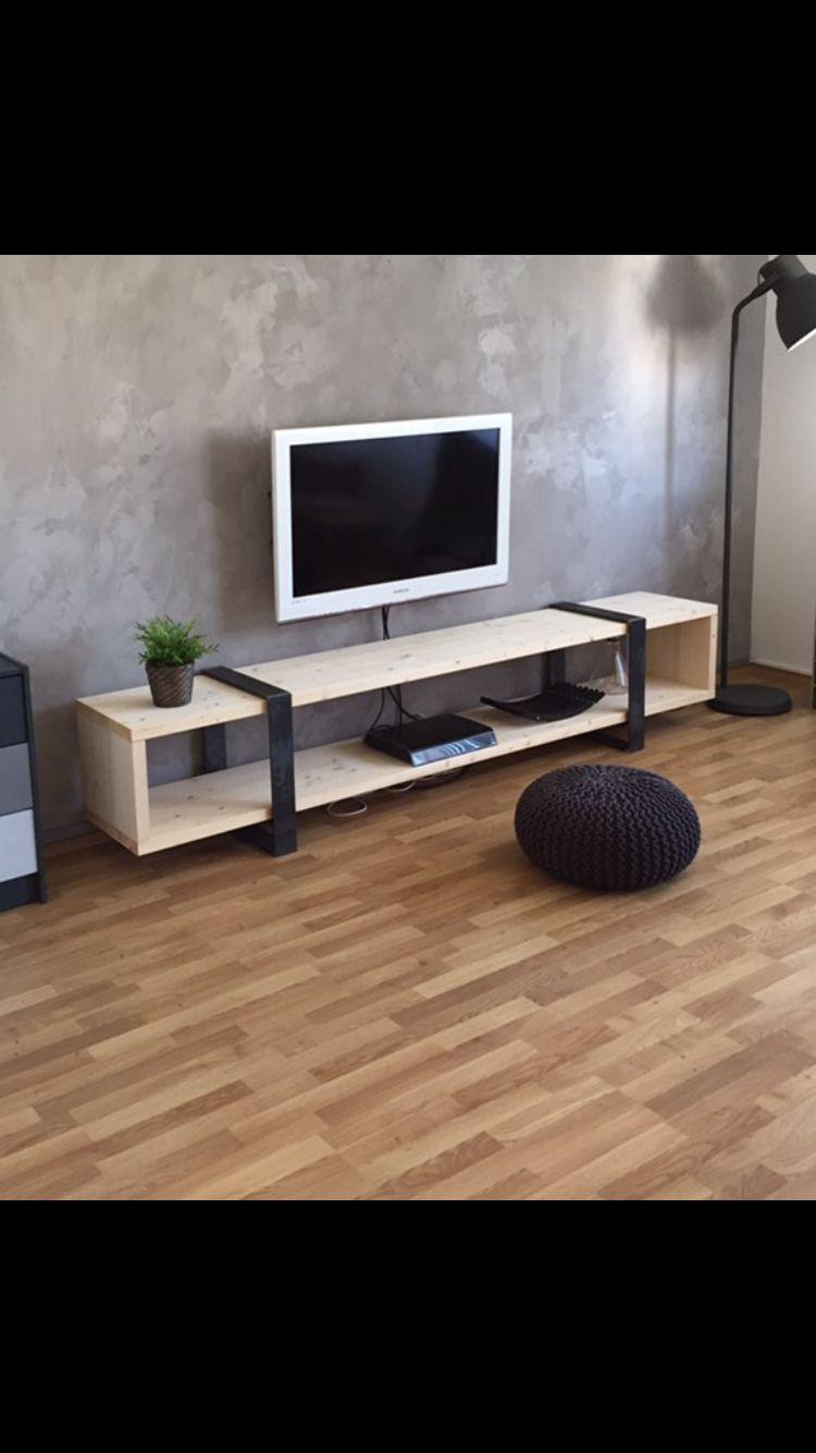 DIY Sideboard industrial low board steel stahl holz wood