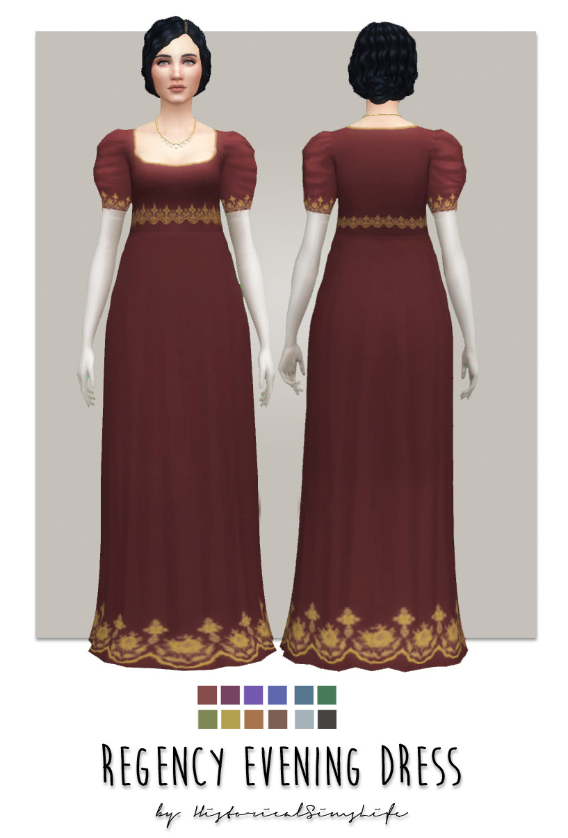 Ts4 Regency Evening Dress Here S The Last Of The Two Dresses I Made For This Period I Hope You Like It Info Mesh By Me Bgc V Sims Sims 4 Historical Dresses
