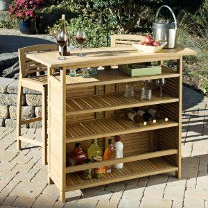 Home Styles 5660 99 Bali Hai Outdoor Bar Cabinet Natural Teak Finish Patio Lawn Garden