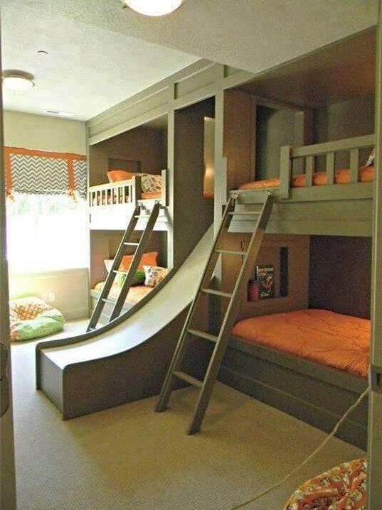 Best Double Deck With Slide Home Bedroom Cool Boys Room 640 x 480