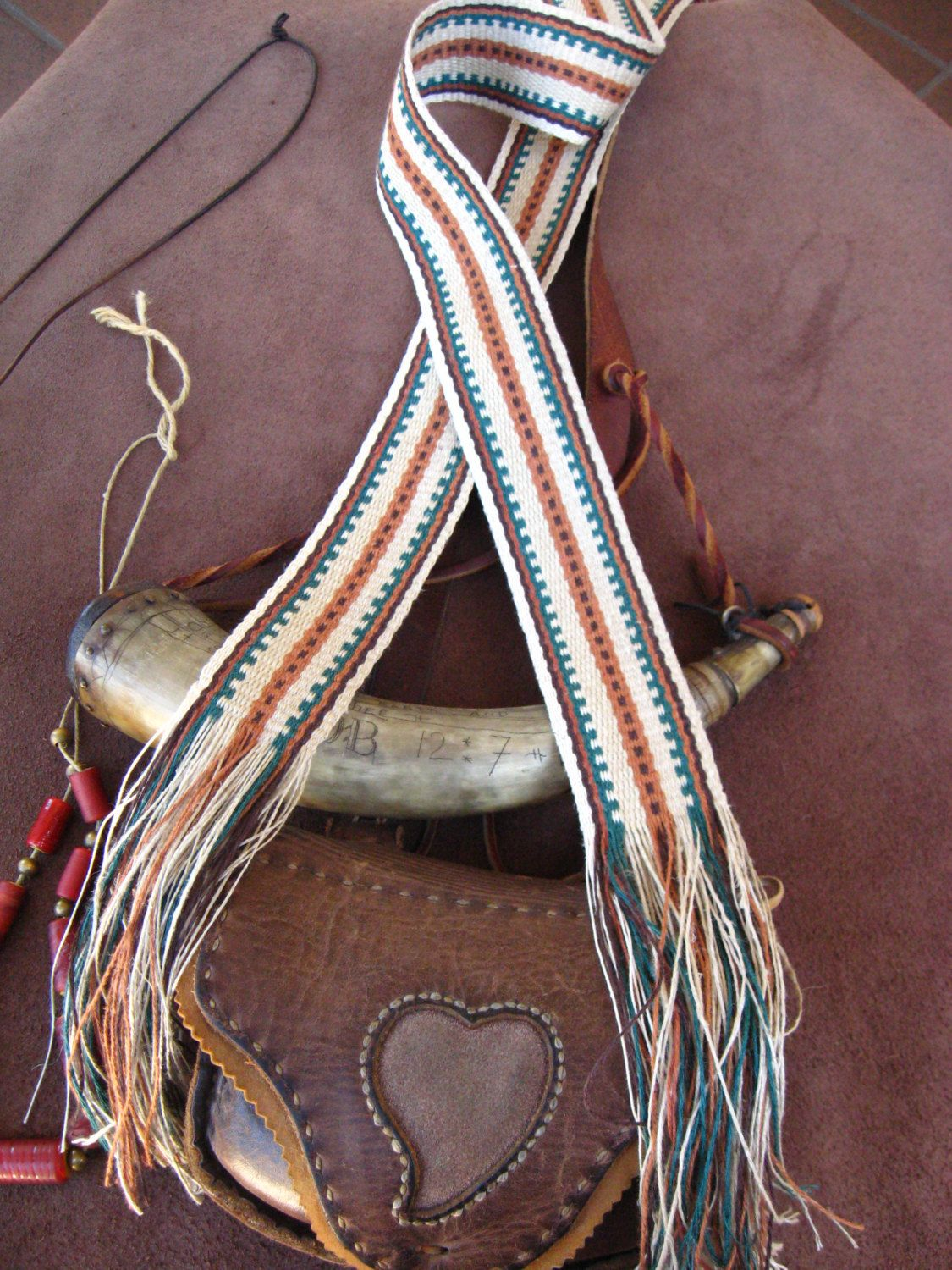 For Sale: $40  Handwoven Hemp Strap for Powder Horn, Quiver