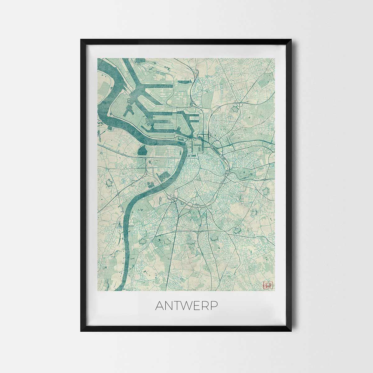 Antwerp Art Posters City Art Map Posters And Prints Map Art Poster Art City Art