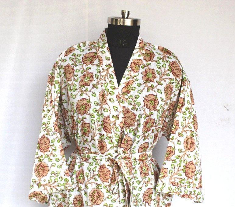 cotton kimonos Handmade Bath Shower Kimono Robe Robe Bath robe Floral Robes beach kimono Body Crossover printed kimono kaftan robes