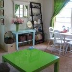 bright green distracts from the ugly rental carpet
