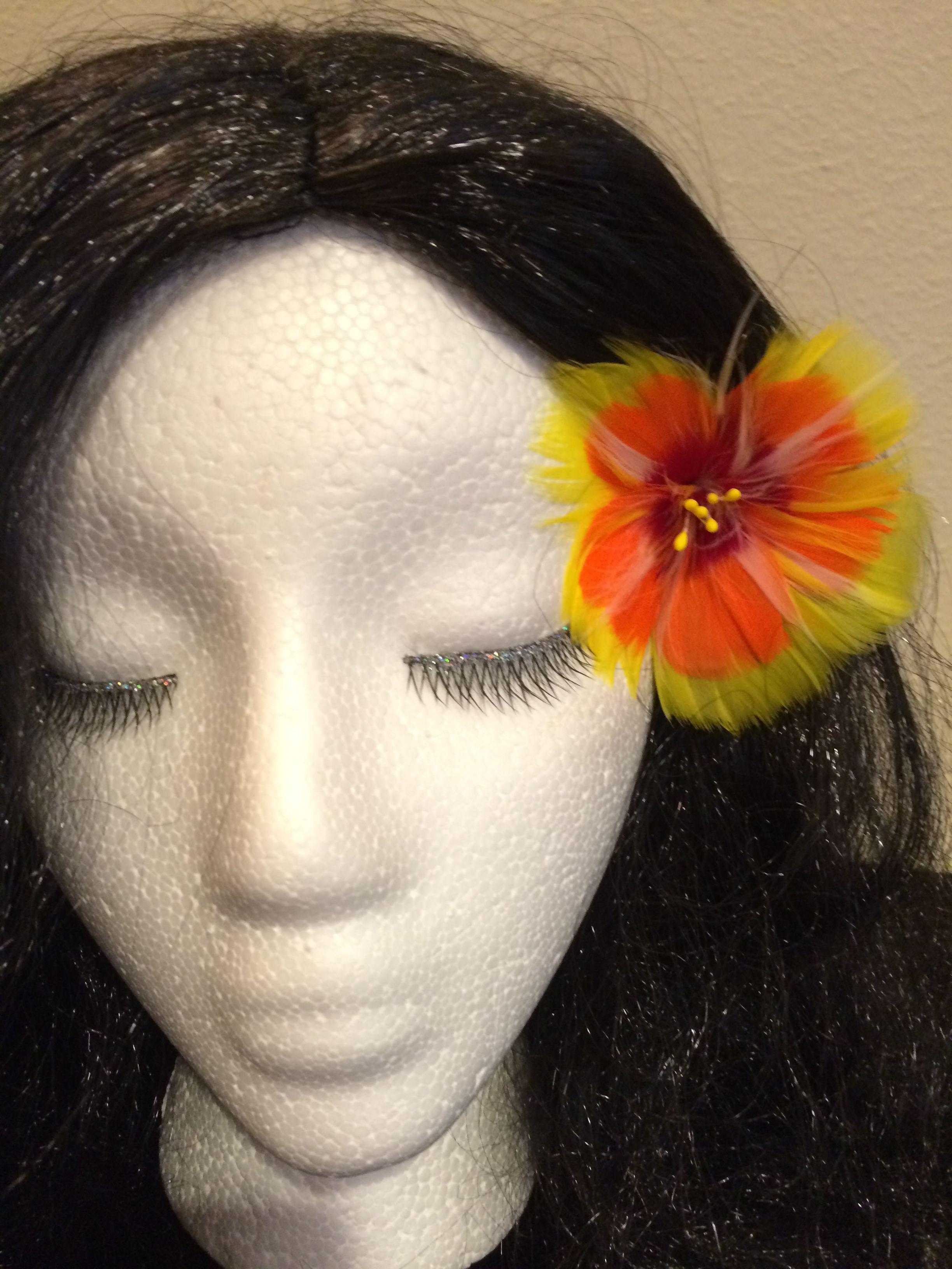 Hawaiian Tropical Yellow Hibiscus Feather Flower Ear Pick 2000