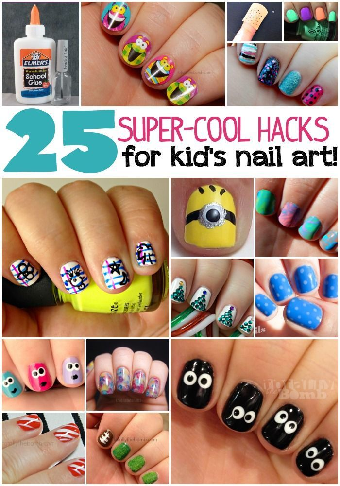 25 Kid\'s Nail Art Hacks | Nail art hacks, Art hacks and Kid nail art