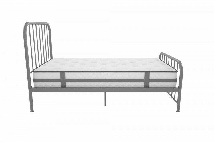 Details About Full Metal Bed Gray Bedframe Headboard Slats