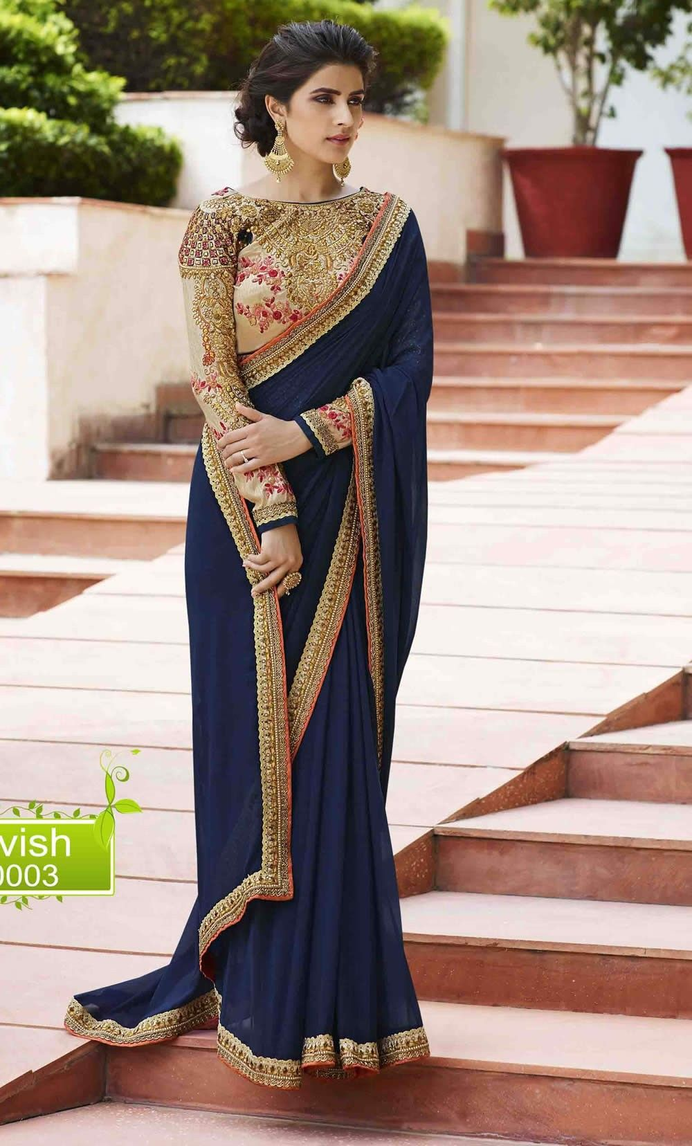 87d2d464cf24d buy saree online Navy Blue Colour Silk Saree With Heavy Work Designer Blouse  Buy Saree online - Buy Sarees online