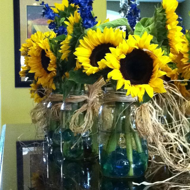 Blue Mason Jars Wedding Ideas: Sunflowers In Mason Jars