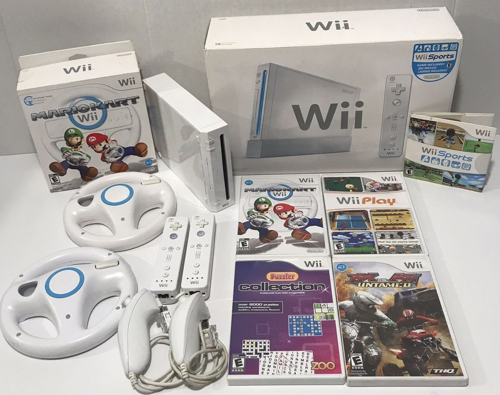 Nintendo Wii Sports Console 5 GAME BUNDLE Mario Kart + Wii