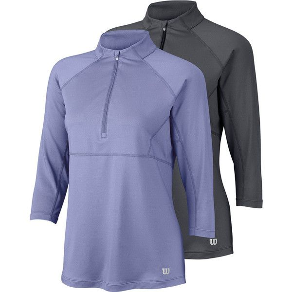 Be In Control Of Your Game With The Wilson Women S 3 4 Sleeve Zip Neck Tennis Top Adjustable Zipper And High Tennis Tops Tennis Clothes Three Quarter Sleeves