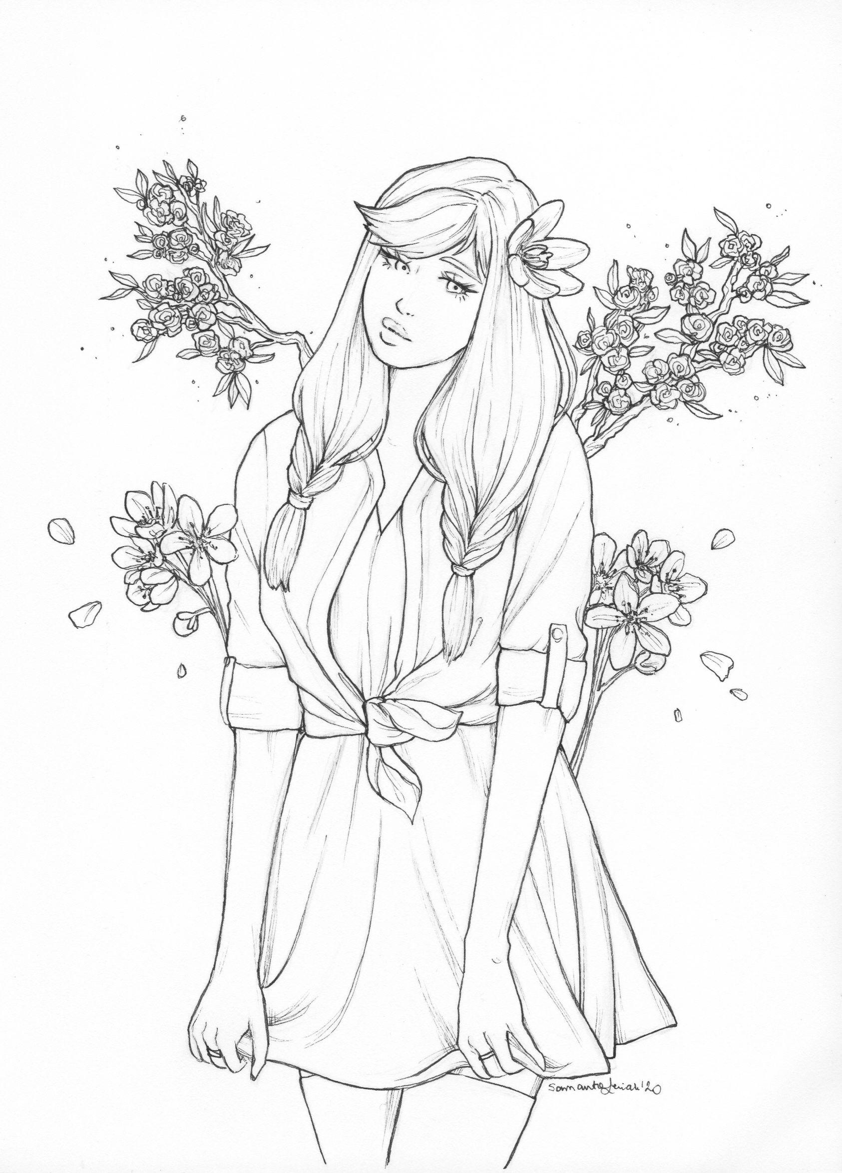 Kolorowanka In 2020 Art Drawings Simple Coloring Pages For Girls Drawing People
