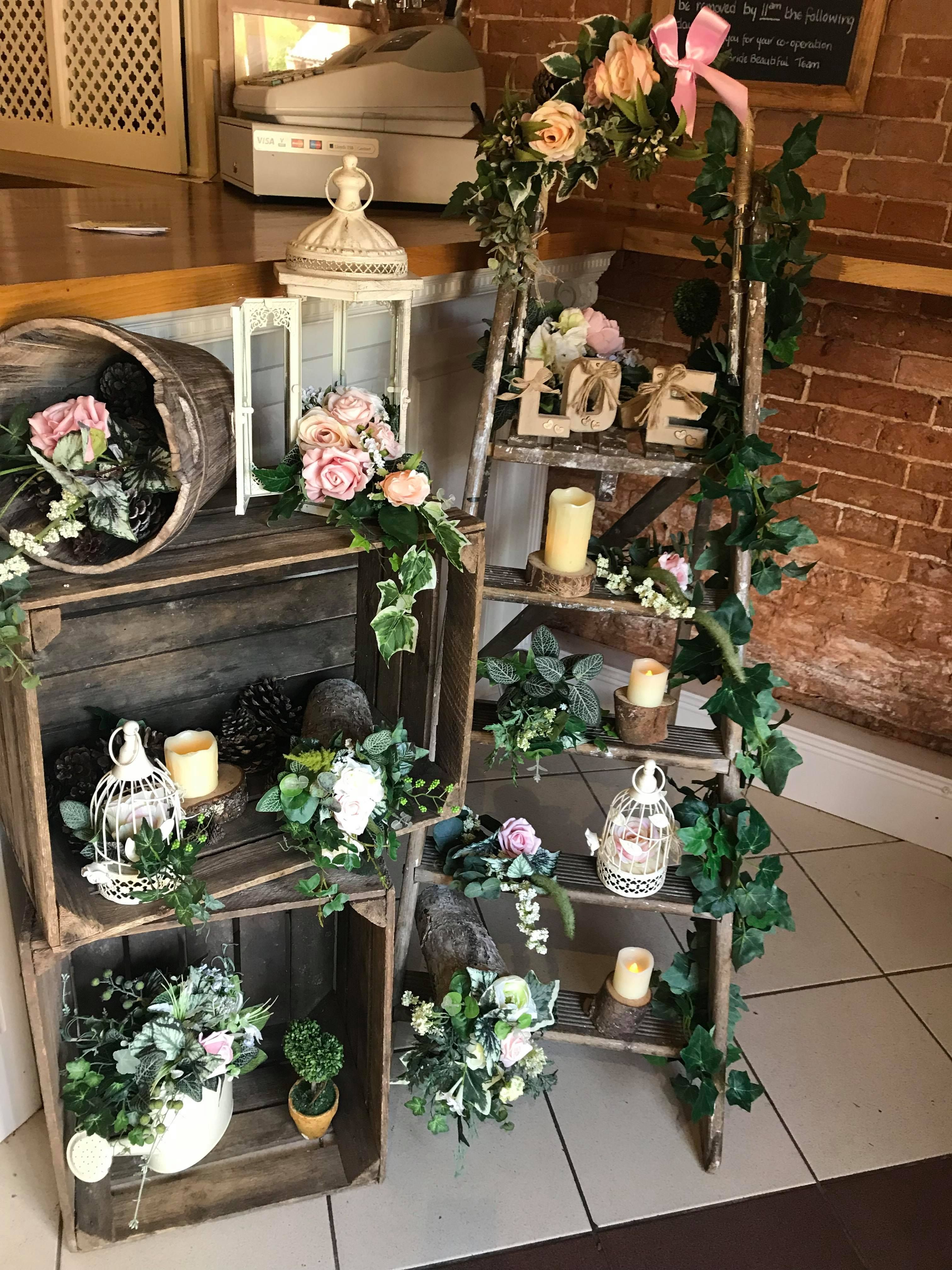Ladder and Crate display with summer flowers Ladder