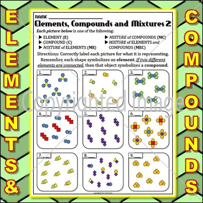 Worksheet: Elements and Compounds 4 | Educational Tools For Success ...