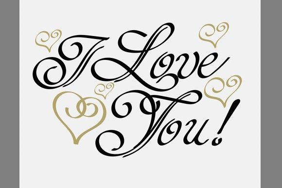 Download I Love You, Lettering Design Vector   I love you lettering ...