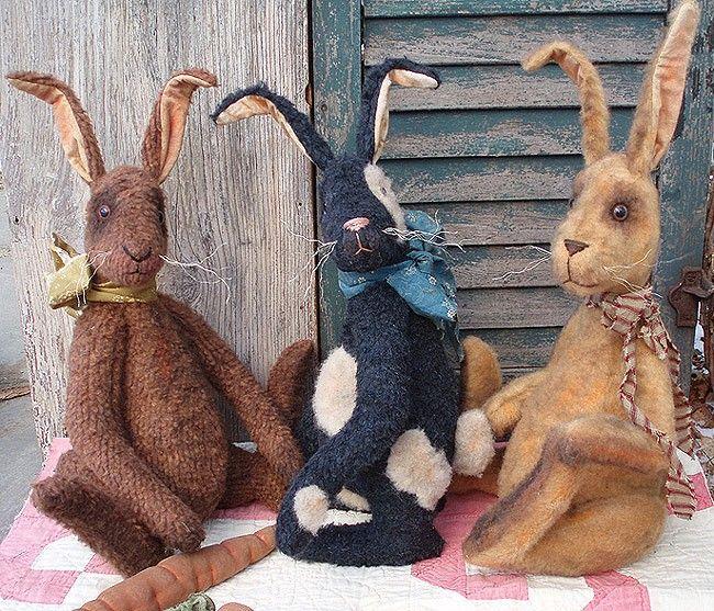New Primitive Country Folk Art GRUNGY LONG LEGS BUNNY Rabbit Easter Doll Figure