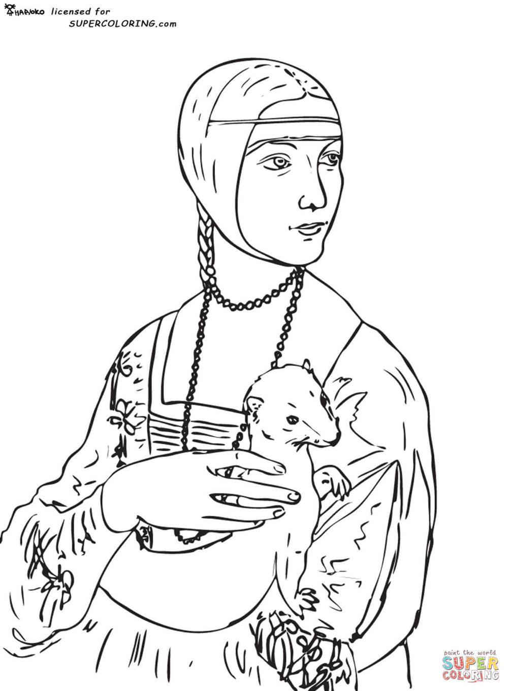 Lady With An Ermine By Leonardo Da Vinci Coloring Page Free Printable Coloring Pages Famous Art Coloring Lady With An Ermine Famous Art [ 1361 x 1000 Pixel ]