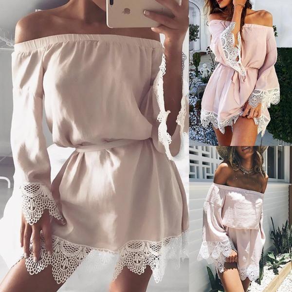2d235c90f32c Crochet Lace Off Shoulder Casual Mini Dress