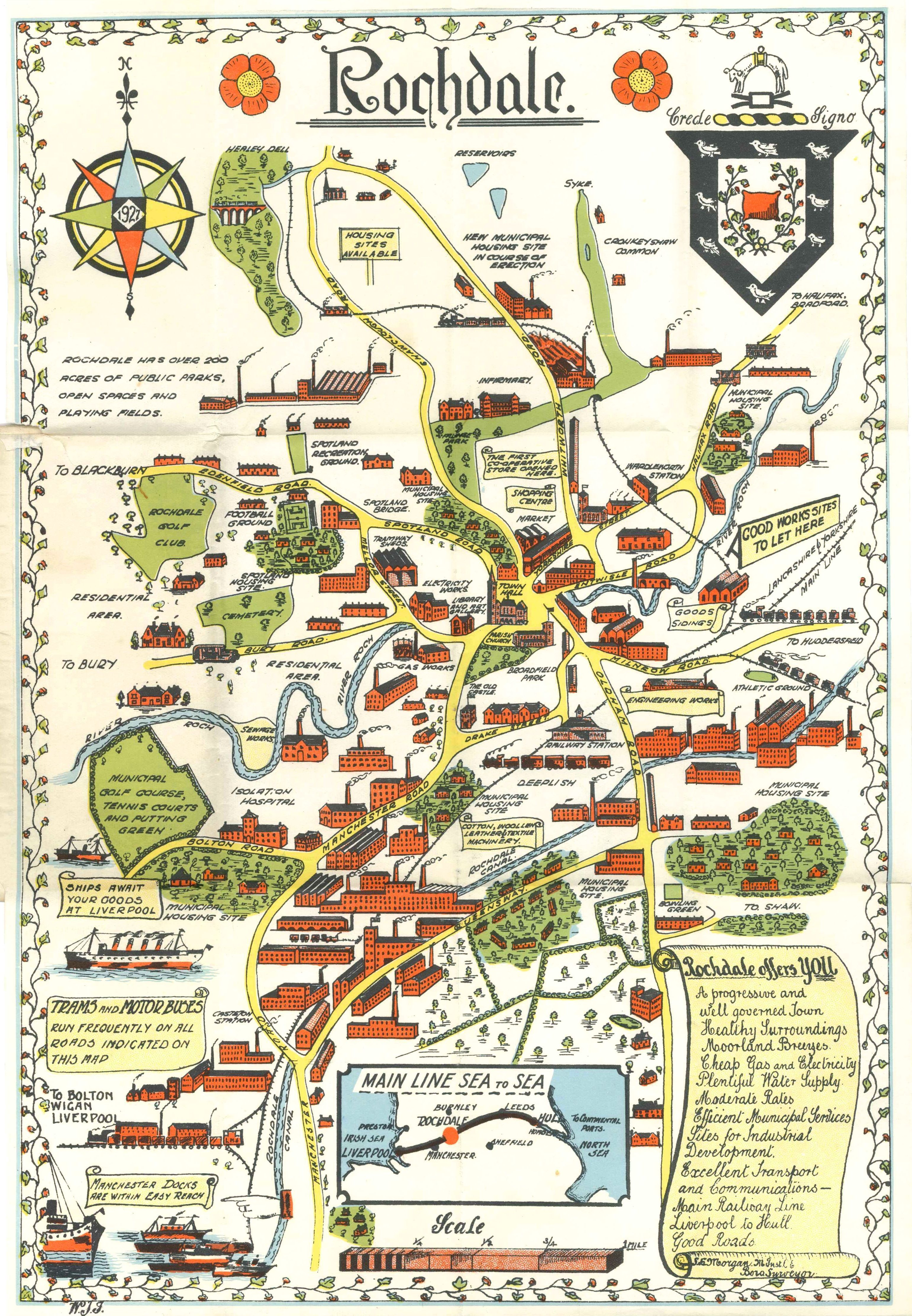 Map Of Rochdale A pictorial map of Rochdale, Lancashire, c1930   Oh to be in