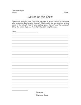 The True Confessions Of Charlotte Doyle Letter To Crew Writing