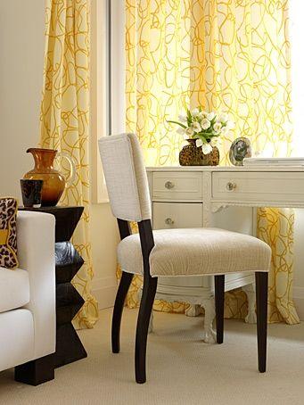 Sarah Richardson office. Yellow curtains