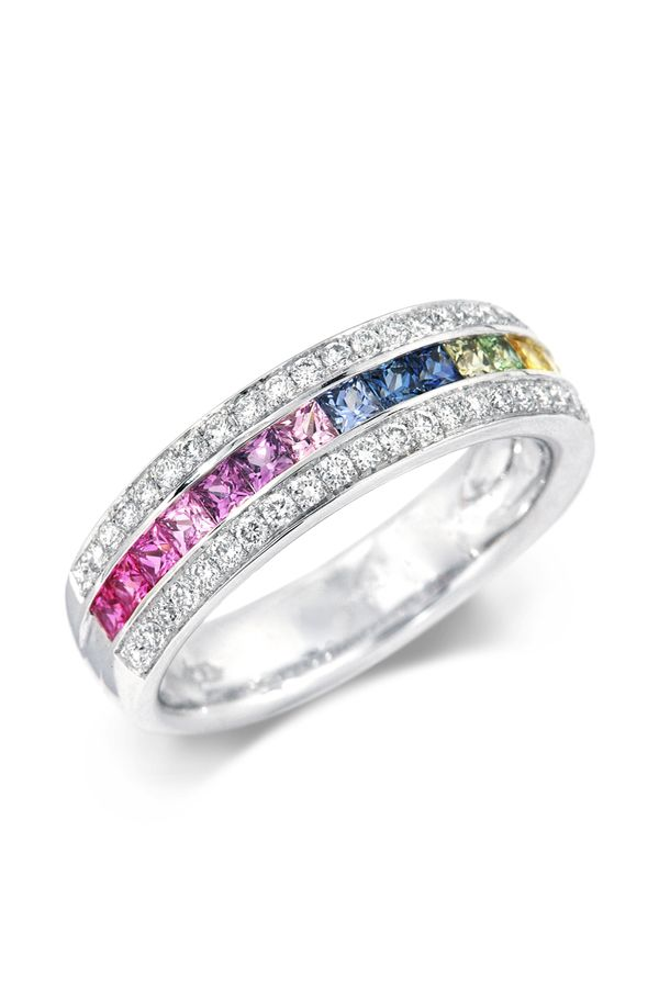 05f37a923a Rainbow Sapphire Ring | Rings in 2019 | Jewelry, Rings, Best diamond