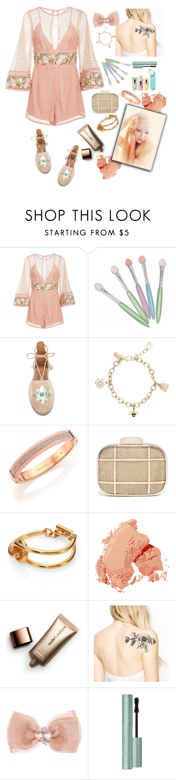"""Overalls"" by grinevagh ❤ liked on Polyvore featuring Alice McCall, Aquazzura, Kate Spade, Michael Kors, Whiting & Davis, Chloé, Bobbi Brown Cosmetics, Nude by Nature, Monsoon and Too Faced Cosmetics"