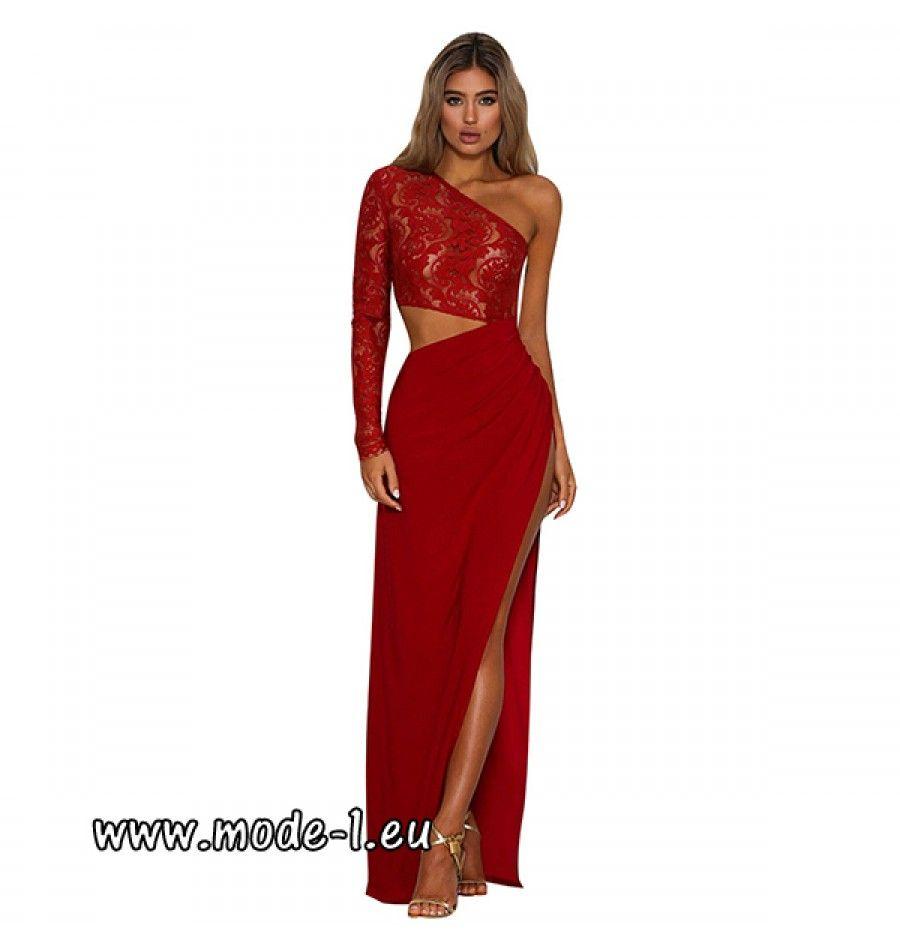 One Shoulder Kleid Abendkleid in Rot | One shoulder kleid ...