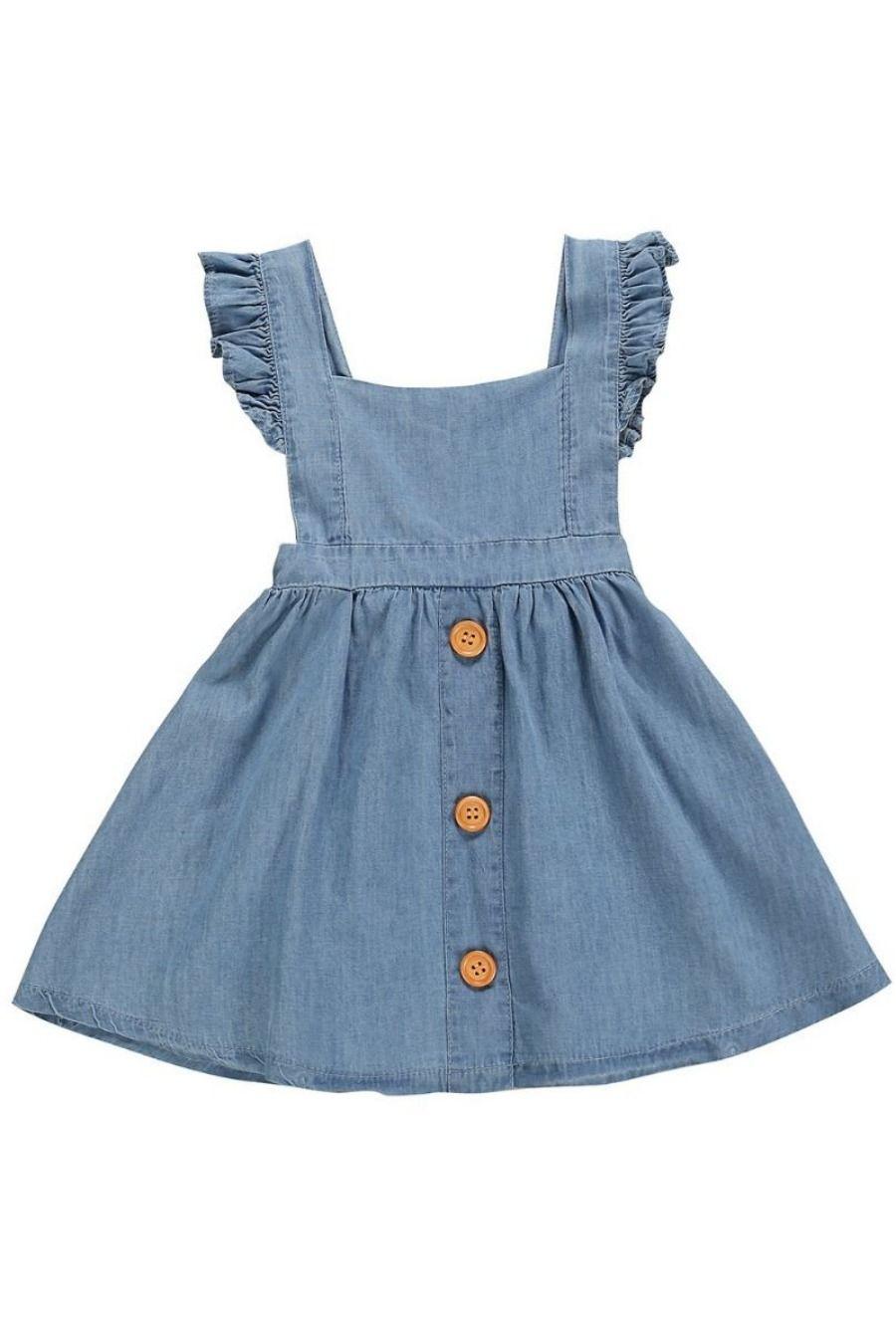 Ruffle Backless Denim Dress Girls Denim Dress Dresses Kids Girl Kids Outfits [ 1350 x 900 Pixel ]