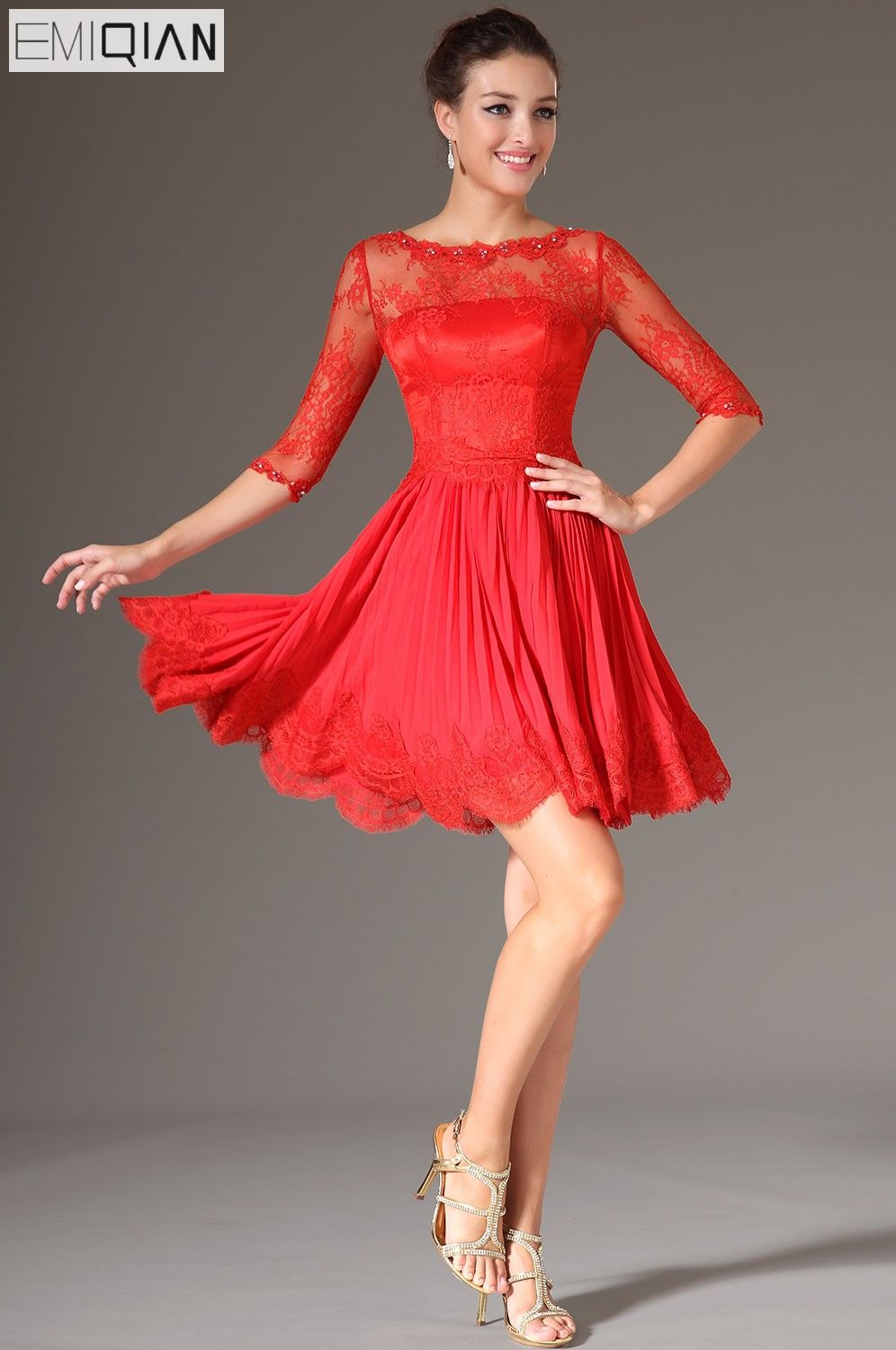 New red lace bodice half sleeves party dress cocktail